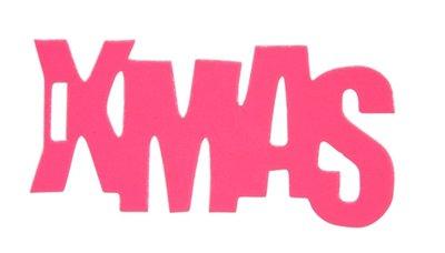 Cadeaulabel X-mas neon roze