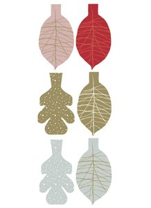 Cadeaulabels Leaves red, gold, ice blue
