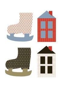 Cadeaulabels skates & houses