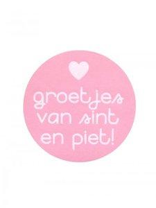 Sticker 'Groetjes van sint en piet' roze