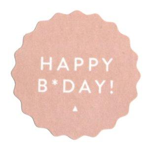 Sticker Happy B-day zacht roze
