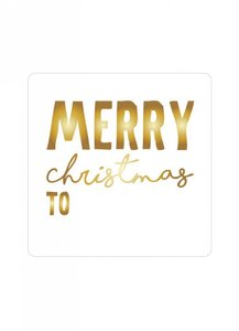 Sticker 'Merry christmas to' goud
