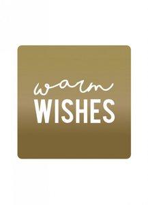 Sticker 'Warm wishes' goud/wit