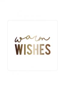 Sticker 'Warm wishes' wit/goud