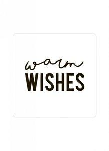 Sticker 'Warm wishes' wit/zwart