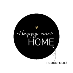 Sticker Happy new home black