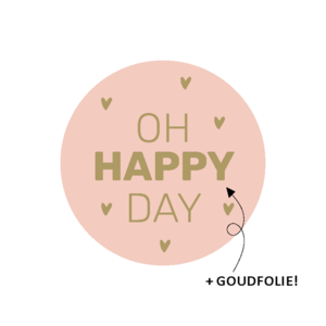 Sticker Oh happy day pink/gold