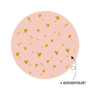 Sticker Hartjes pink/gold