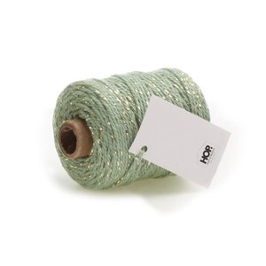 Cotton cord mint/gold roll