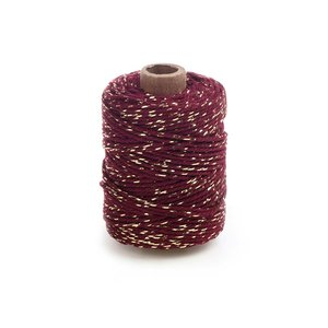 Cotton cord bordeaux/gold roll