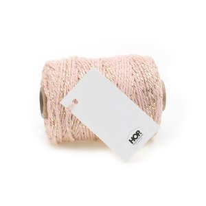 Cotton cord light pink/gold roll