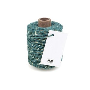 Cotton cord seagreen/gold roll