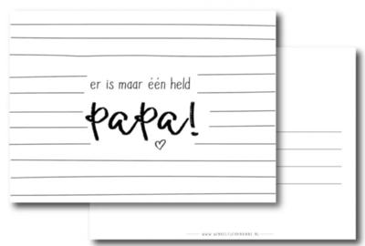 Ansichtkaart Er is maar een held, papa!