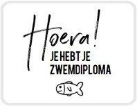 Sticker Hoera! je hebt je zwemdiploma (visje)