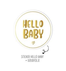 Sticker Hello Baby wit/goud