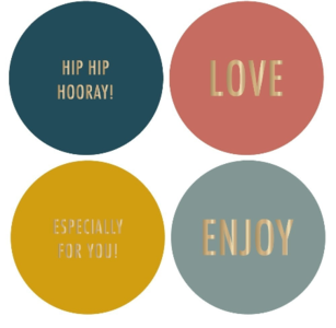 Stickers Multi colour gold Engels