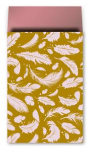 Cadeauzakjes Falling feathers pink/ochre 12 x 19