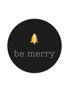 Sticker Be merry zwart/goud (boompje)