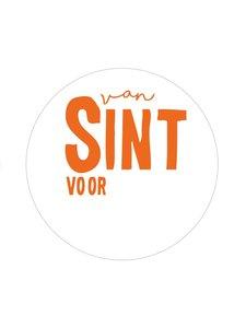 Sticker Van sint voor... wit/oranje