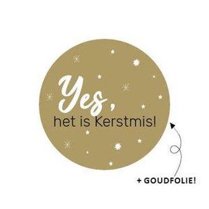 Sticker Yes, het is Kerstmis!
