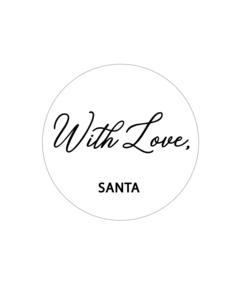 Sticker With love, Santa wit/zwart