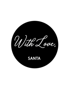 Sticker With love, Santa zwart/wit