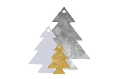 Houten kerstboompjes set