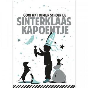 Ansichtkaart Sinterklaas Kapoentje mint/zilver
