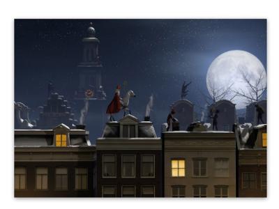 Ansichtkaart Sint in de nacht