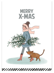 Ansichtkaart Dame met kerstboom