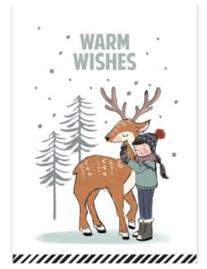 Ansichtkaart Warm wishes rendier
