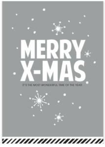 Ansichtkaart Merry X-mas zilvergrijs