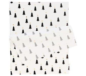 Vloeipapier Christmas trees black/gold