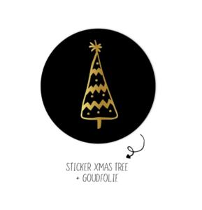 Sticker Kerstboom zwart/goud