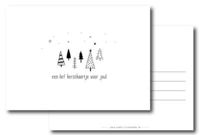 Kerstkaart een lief kerstkaartje voor jou (zwart/wit)