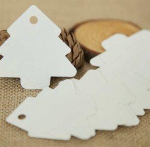 Cadeaulabel kerstboom wit