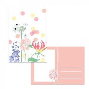 Ansichtkaart Bloemen en confetti