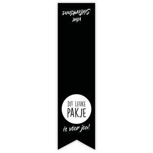 Sticker label zwart 'dit leuke pakje'