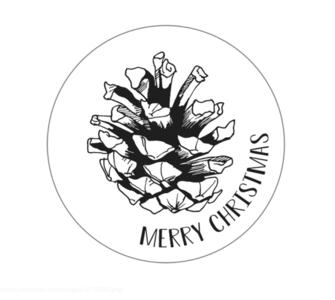Sticker Dennenappel (Merry Christmas)
