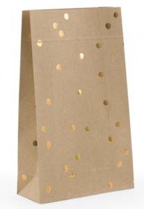 Blokbodemzak handdrawn dots kraft/goud