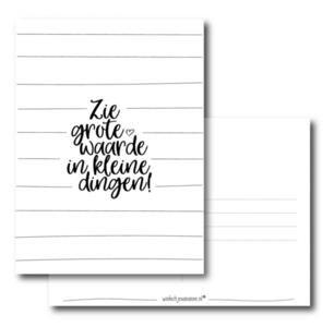 Ansichtkaart Zie grote waarde in kleine dingen!