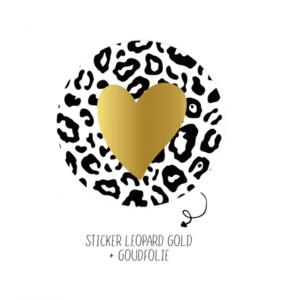 Sticker Leopard with golden heart