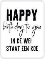 Sticker Happy birthday to you, in de wei staat een koe