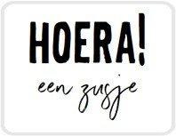 Sticker Hoera! Een zusje