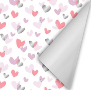 Cadeaupapier Duo hearts roze/neon/zilver