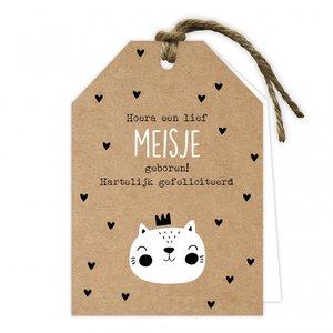 Wenskaart label hoera een lief meisje geboren!