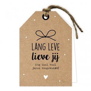 Wenskaart label lang leve lieve jij