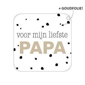 Sticker Voor mijn liefste papa (wit/zwart/goud)