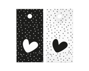 Cadeaulabel Heart on dots black/white