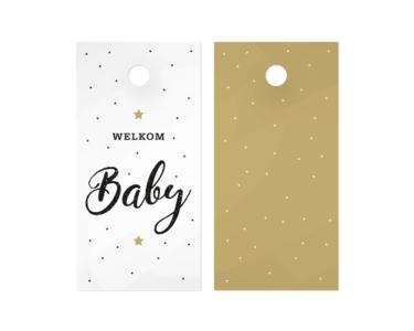 Cadeaulabel Welkom baby white/black/gold